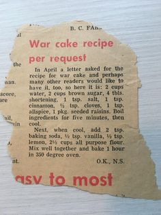 Old recipes are interesting and sometimes amazing. Please share yours here. Old Recipes, Retro Recipes, Vintage Recipes, Cake Recipes, Baking Recipes, Sweet Recipes, Dessert Recipes, Picnic Recipes, Baking Desserts
