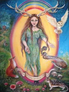 "This painting depicts the ancient goddess ""Ellen of the Old Ways"".She is the guardian of the ley lines and the dream ways and was closely tied to the faery folk.She is the only horned goddess in existence and wears the antlers of the female Reindeer. She offers you the universal key to whichever door awaits you.She stands beneath the etherial rainbow,the bridge to multiple realms. On the right side of the painting a lyrebird and a spotted quoll are depicted, both of which are native to ..."