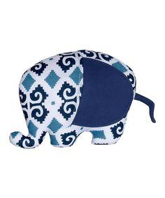 f76b88678ee87 Masala Baby Navy Blue Ikat Elephant Plush Toy by