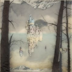 Brooks Shane Salzwedel Tufa Tufa graphite, tape, colored pencil, resin on panel 12 x12 '  the distrotion in this piece has to do with the illusion of reflection. Althouhg, it looks at first as if you're looking at an island in the middle of a lake or ocean, once your eye moves across the page you see that there are other reflections or images fighting for this space.