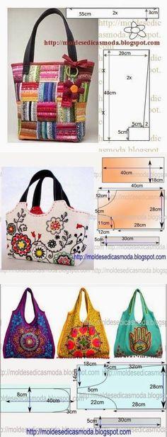 Handbags with patterns. // Галина Моисеева - #moldes #dicas #moda