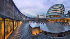 Panorama of London City Hall Building and Tower Bridge in the Morning, London, United Kingdom