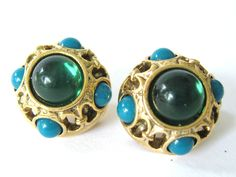 DECO REVIVAL Vintage 1980s Chunky Gold Green Turquoise Glass Rhinestone Cabochon ETRUSCAN Button Clip Earrings Fashion Statement Jewelry by CovetedCastoffs on Etsy
