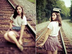 Not sure about the books on the head, but for some reason, I've always liked the railroad track look...for a few shots.