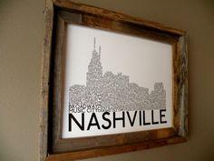 Nashville Skyline Word Art Print B&W by fortheloveofmaps on Etsy, $22.00