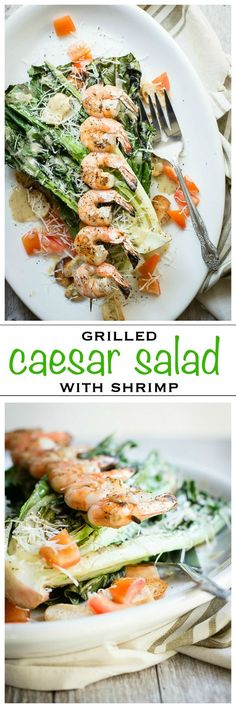 Easy Grilled Caesar Salad with juicy Shrimp | Foodness Gracious