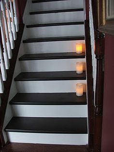 Taking carpet off of stairs and painting stairs a chocolate brown and white. NICE.