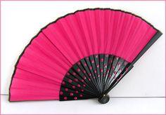 Black/pink dots wood fan Éventail bois / Rose-noir à pois