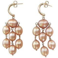 Golden Hue Baroque Pearl Dangle Earring by Marina J | From a unique collection of vintage dangle earrings at https://www.1stdibs.com/jewelry/earrings/dangle-earrings/