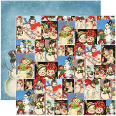 Reminisce - Dear Santa Collection - Christmas - 12 x 12 Double Sided Paper - Snowman Collage at Scrapbook.com