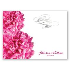 Posh Peonies Foil Thank You Card and Envelope by David's Bridal. #thankyoucards #bridalshower #weddings #davidsbridal
