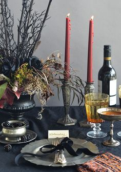 Addams Family Inspired Halloween Table Setting | Camille Styles