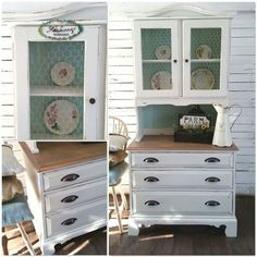 Farmhouse hutch in cream and arctic ice by Roseberry Workshop
