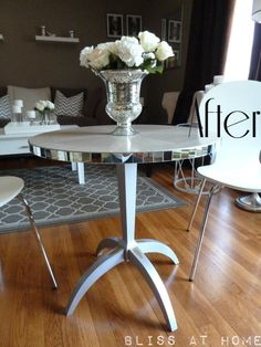 DIY Mirrored Table using 1-inch pack of glass tiles