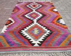 "VINTAGE Turkish Kilim Rug Carpet, Handwoven Kilim Rug,Antique Kilim Rug,Antalya Kilim, Daimond Design 42,1"" x 65,3"""