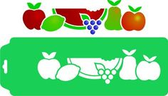 Molde Vazado e a máscara de estencil com frutas variadas