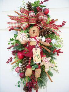 Sweet Gingerbread girl swag http://www.timelessfloralcreations.com/ https://www.facebook.com/timelesswreaths