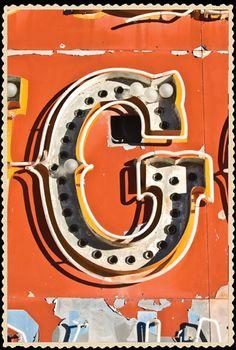 typography G  neon  orange  boneyard  vegas  rusty  lightbulbs