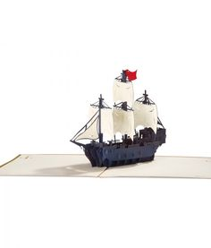 Blue Tall Ship in Wooden Card