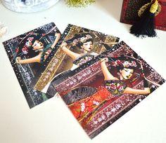 """Lot de 3 Cartes de voeux 2015 """"Bonheur, prospérité, longévité"""" écrit en chinois et illustrées par une femme asiatique. : Cartes par mes-tites-lilis"""