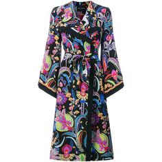 Etro long patterned trench coat (160,710 INR) ❤ liked on Polyvore featuring outerwear, coats, black, long length coats, colorful trench coats, floral print trench coat, multi colored coat and print coat