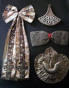 Maiden nakosniki (decorations for braids). North of Russia. XVIII - IX centuries