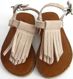 Baby Gap Seashell Suede Fringe Sandals Toddler Girl Size 5