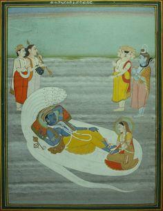 Anantashayana Vishnu (Vishnu reclining on Sheshanaga), Lakshmi massaging his feet, along with deferential Brahma, Shiva, a deva and musician.Jaipur,circa 1800-1820