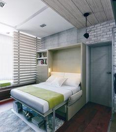 klappbares Doppelbett ist ein Sofa während des Tages