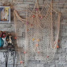 Nautical Fishing Net Seaside Wall Beach Party Sea Shells Home Garden Decor in…