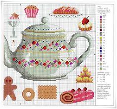 Lavores da Ana Paula: Quadro com serviço de chá e bolinhos