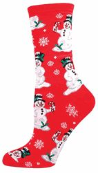 Jolly Christmas Snowman Socks on Red