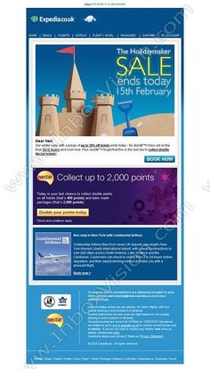 Company:    Expedia.co.uk   Subject:    Holidaymaker Sale ends today              INBOXVISION is a global database and email gallery of 1.5 million B2C and B2B promotional emails and newsletter templates, providing email design ideas and email marketing intelligence http://www.inboxvision.com/blog
