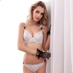 243d3240d Aliexpress.com   Buy Shitagi Sexy Transparent Bra And Panty Set Ultra thin  Cup Bra Brief Lace Women Underwear Set Lady Intimates Underwire Brassiere  from ...