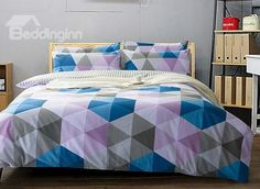 Classical Colorful Triangle Print 4-Piece Cotton Duvet Cover Sets #bedding #bedroom
