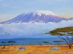 """An African safari will take you to Kenya, or to Africa""""s Big Five. Kenya is a place to visit if you got good commonsense and an interest in adventure. Monte Kilimanjaro, Kenya Travel, Africa Travel, Hiking Europe, Thing 1, African Art, Art For Sale, Landscape Paintings, Sunrise"""