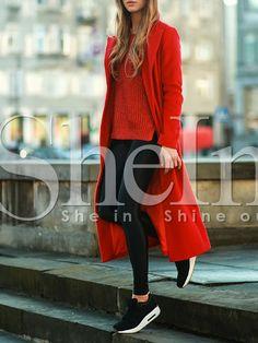 Red Long Sleeve Lapel Coat 29.69