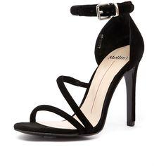 Mollini Latch Black Suede (155 CAD) ❤ liked on Polyvore featuring shoes, pumps, suede pumps, black stiletto pumps, stiletto pumps, black open toe pumps and high heels stilettos