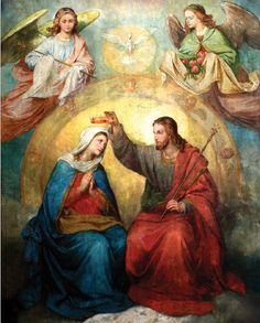 picture of The Coronation. Jesus Christ Images, Jesus Art, Blessed Mother Mary, Blessed Virgin Mary, Catholic Gifts, Catholic Art, Religious Images, Religious Art, Images Of Mary