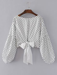 Shop Lantern Sleeve Polka Dot Bow Tie Back Top online. SheIn offers Lantern Sleeve Polka Dot Bow Tie Back Top & more to fit your fashionable needs. Dots Fashion, Trendy Fashion, Girl Fashion, Fashion Dresses, Blouse Styles, Blouse Designs, Pretty Outfits, Cute Outfits, Polka Dot Bow Tie