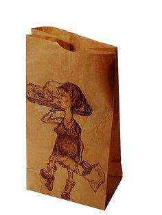 Ilustraciones hechas con café en bolsas de papel by Andrés Leonardo Stangalini, via Flickr