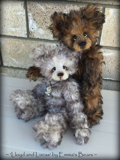 """Lucas and Lloyd artist teddy bear kid mohair KITS - Both bears are 10"""" tall when finished"""