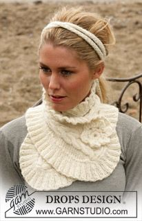 "DROPS - ""Alpaca""-langalla neulotut kaulus ja hiuspanta - Free pattern by DROPS Design Knitting Patterns Free, Knit Patterns, Free Knitting, Free Pattern, Neck Pattern, Drops Design, Bonnet Crochet, Knit Crochet, Free Crochet"