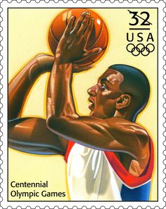 This basketball stamp was issued in 1996 to commemorate the Summer Olympics in Atlanta, Georgia. Old Stamps, Vintage Stamps, Olympic Games, Olympic Basketball, Commemorative Stamps, Going Postal, Black History Facts, Stamp Collecting, What Is Like