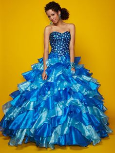 Blue Quinceanera Dresses - Two-Tone Blue Dress