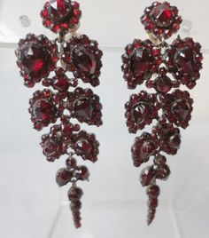 Vintage Art Deco Bohemian Garnet Dangle Screw Back Earrings | eBay