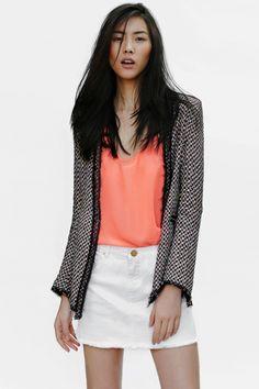 tweed blazer, peach scoop-neck blouse, white denim mini. love this!