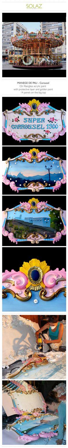 MANEGE DE PAU - Carousel by Helene Bataille, via Behance -  www.designbysolaz.com #drawing #illustration #painting #paint #mural #wallpainting #carousel #children #kids #game #vintage #gold