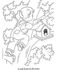 Free printable kid color page of houses