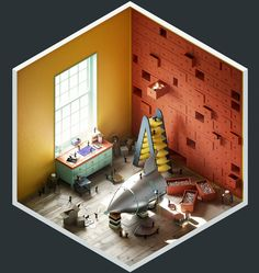 Isometric art, isometric model render, Rooms - The Construction Room by The Stompin' Ground X Isometric Art, Isometric Design, Isometric Shapes, Graphisches Design, Game Design, Low Poly, 3d Cinema, Image 3d, 3d Artwork